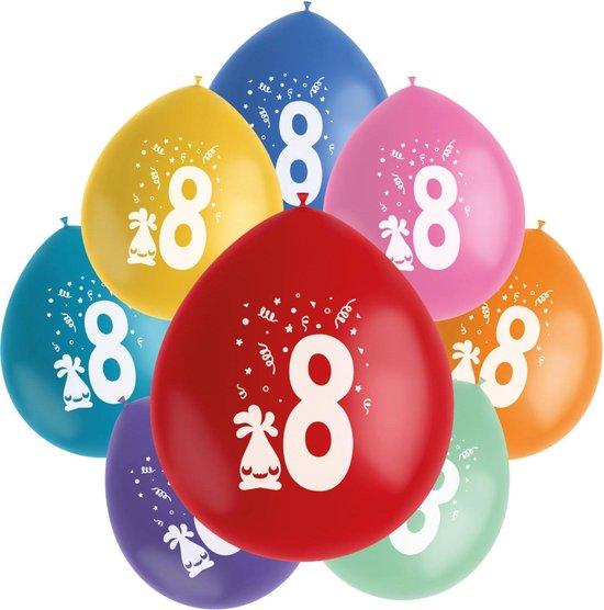 Folat Ballonnen Color Pop 8 Jaar 23 Cm Latex 8 Stuks