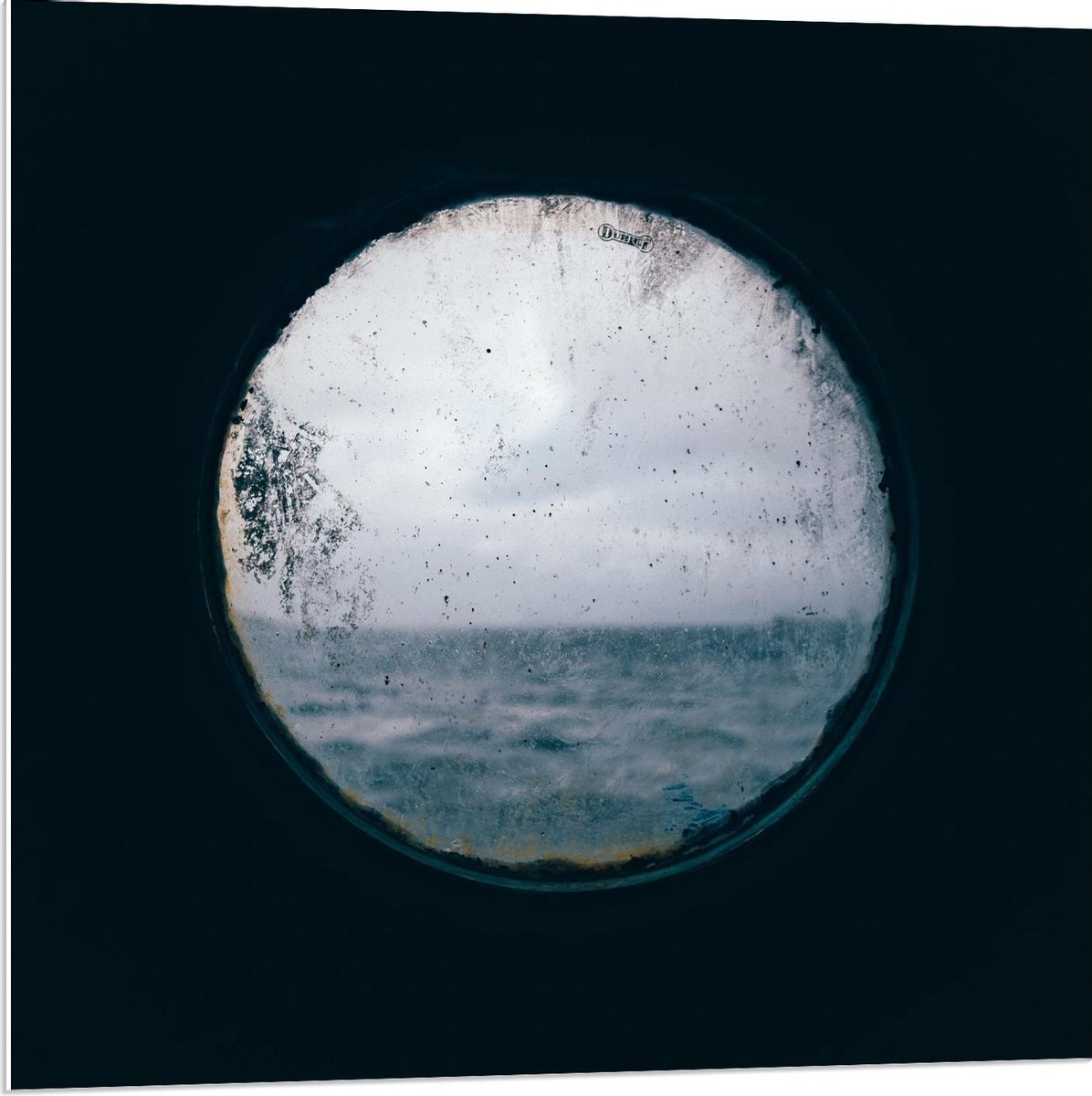 Forex - Rond Raam met Uitzicht op Zee - 80x80cm Foto op Forex