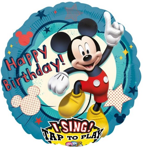 Folieballon - Happy birthday - Mickey Mouse - Met muziek - 71cm - Zonder vulling