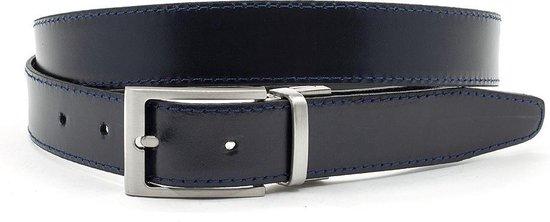 Draaibare (reversibel) riem blauw/zwart