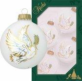 4x Luxe witte glazen kerstballen met vrede duif 7 cm - Kerstboomversiering - Kerstversiering/kerstdecoratie rood