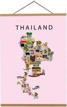 Kaart van Thailand   B2 poster   50x70 cm   Roze   Maison Maps