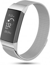 Fitbit charge 3 & 4 milanese band - zilver - SM - Horlogeband Armband Polsband