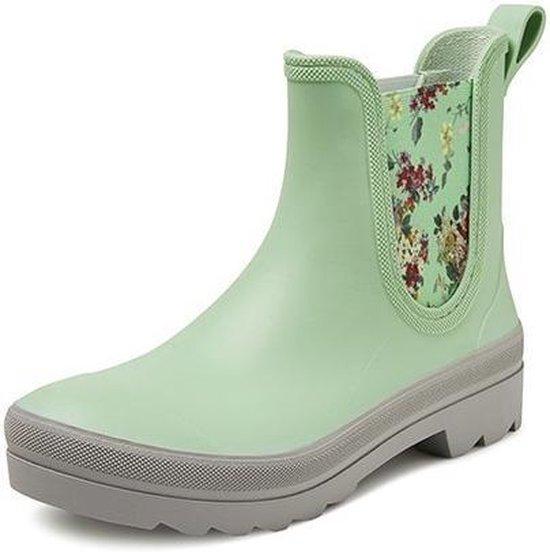 Regenlaars Gevavi Boots   4200 Dames Enkellaars Sebs   Maat 40   Groen met Bloemen
