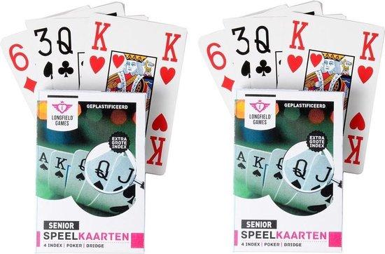 Afbeelding van het spel 10x Senioren speelkaarten plastic poker/bridge/kaartspel met grote cijfers/letters - Ideaal voor oudere mensen/slechtzienden - Kaartspellen - Speelkaarten - Pesten/pokeren