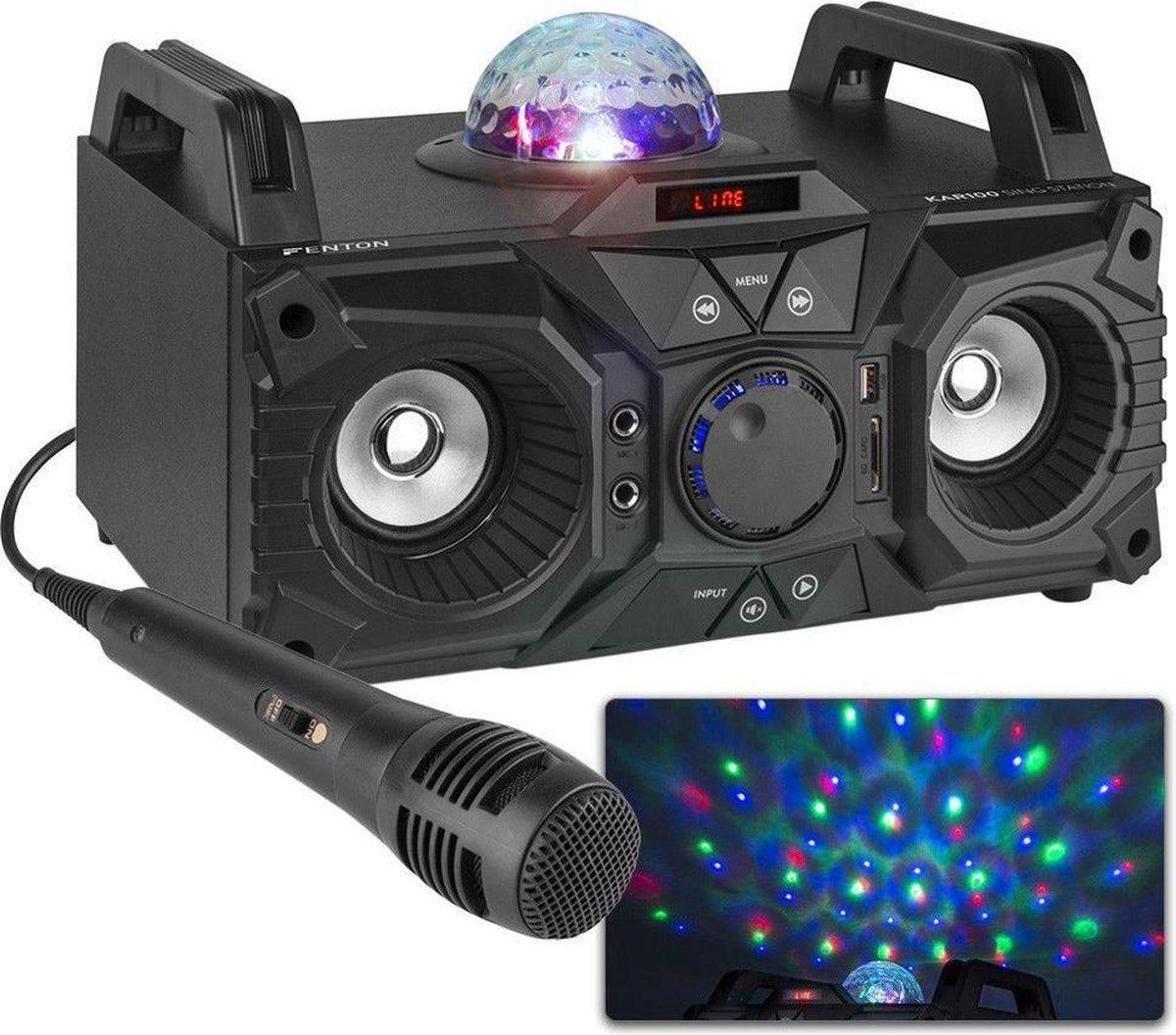 Karaokeset - Fenton KAR100 Singstation met microfoon, Bluetooth, mp3 speler en LED lichteffect