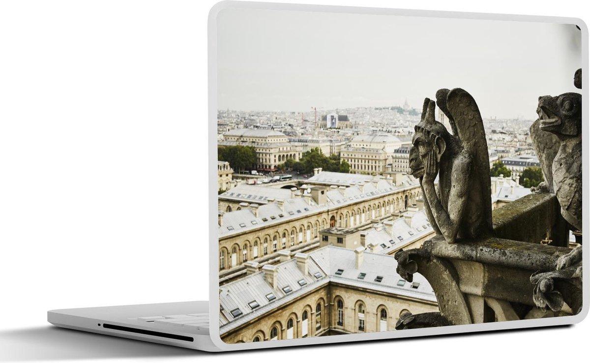 Laptop sticker - 13.3 inch - Gargoyle van dichtbij op de bovengevel van de Notre Dame