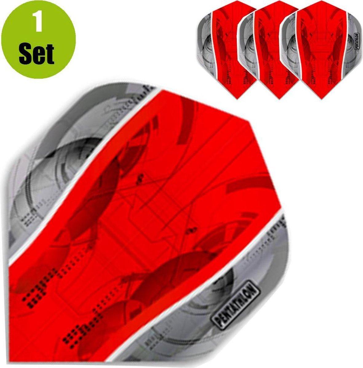 Pentathlon Silver Edge Dartflights - Rood- ()