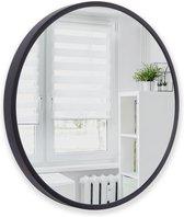 Xaptovi - Spiegel –  Ø40 – Wandspiegel – 5 cm dikke rand -Spiegel Rond – Spiegel Zwart Metaal – 40cm Diameter
