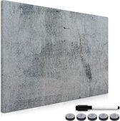 Navaris magneetbord - Magnetisch bord om op te schrijven - Memobord 90 x 60 cm - Met magneten en marker - Notitiebord voor aan de muur - Betonlook