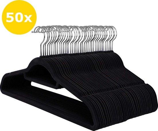 50 Anti-slip kleerhangers - Ultra-dun - Met Broeklat of Roklat - Zwart