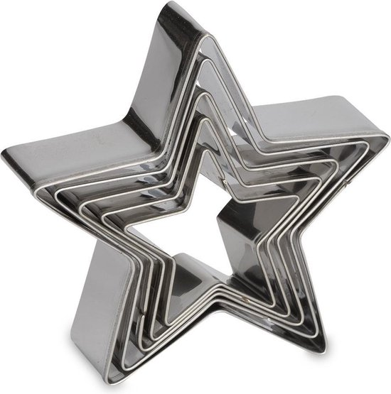 Patisse uitsteekvorm 5 delig Ster - Zilver
