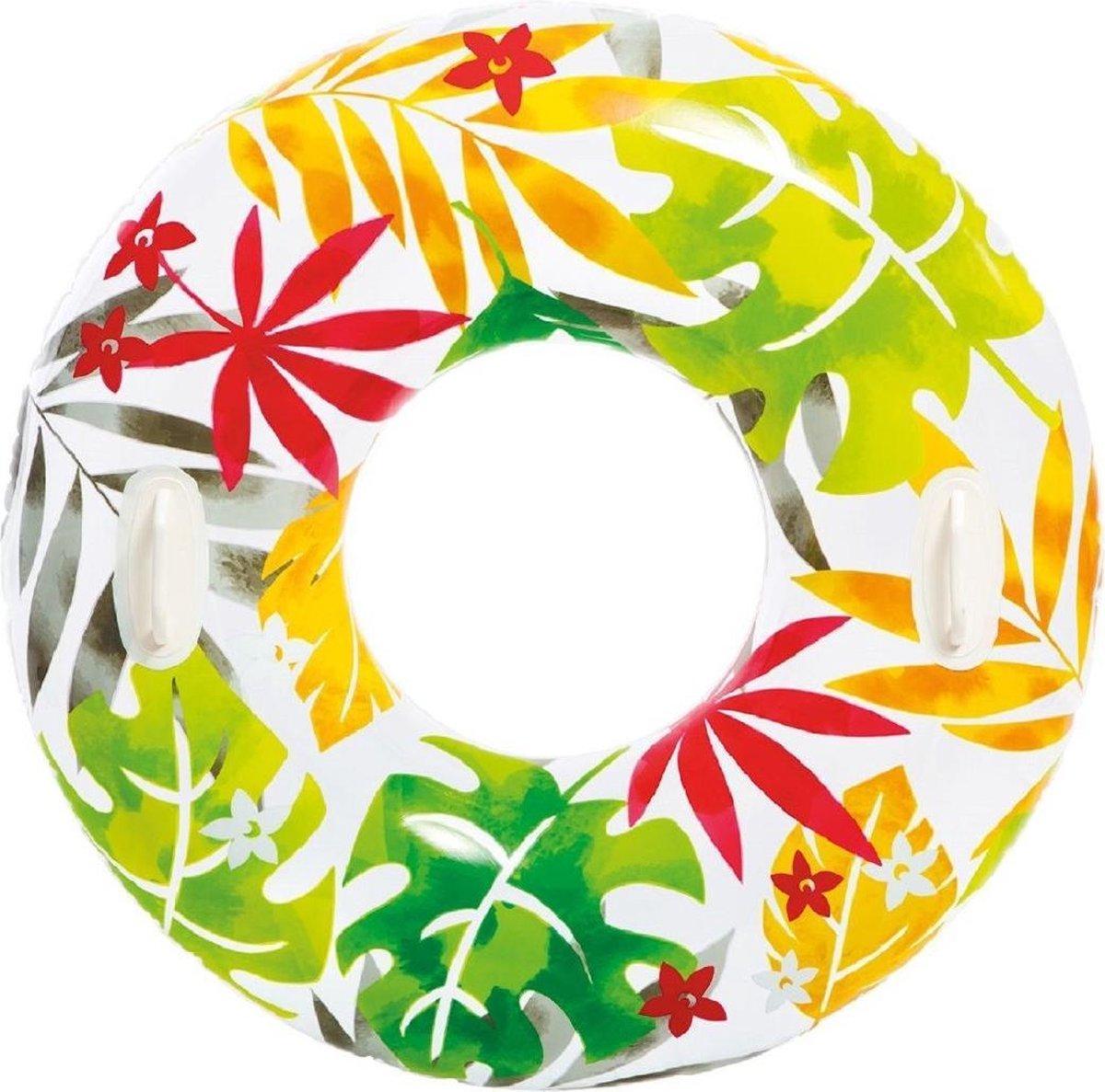 Opblaasbare bladeren zwemband/zwemring 97 cm - Zwembenodigdheden - Zwemringen - Tropisch thema - Blad zwembanden voor kinderen en volwassenen