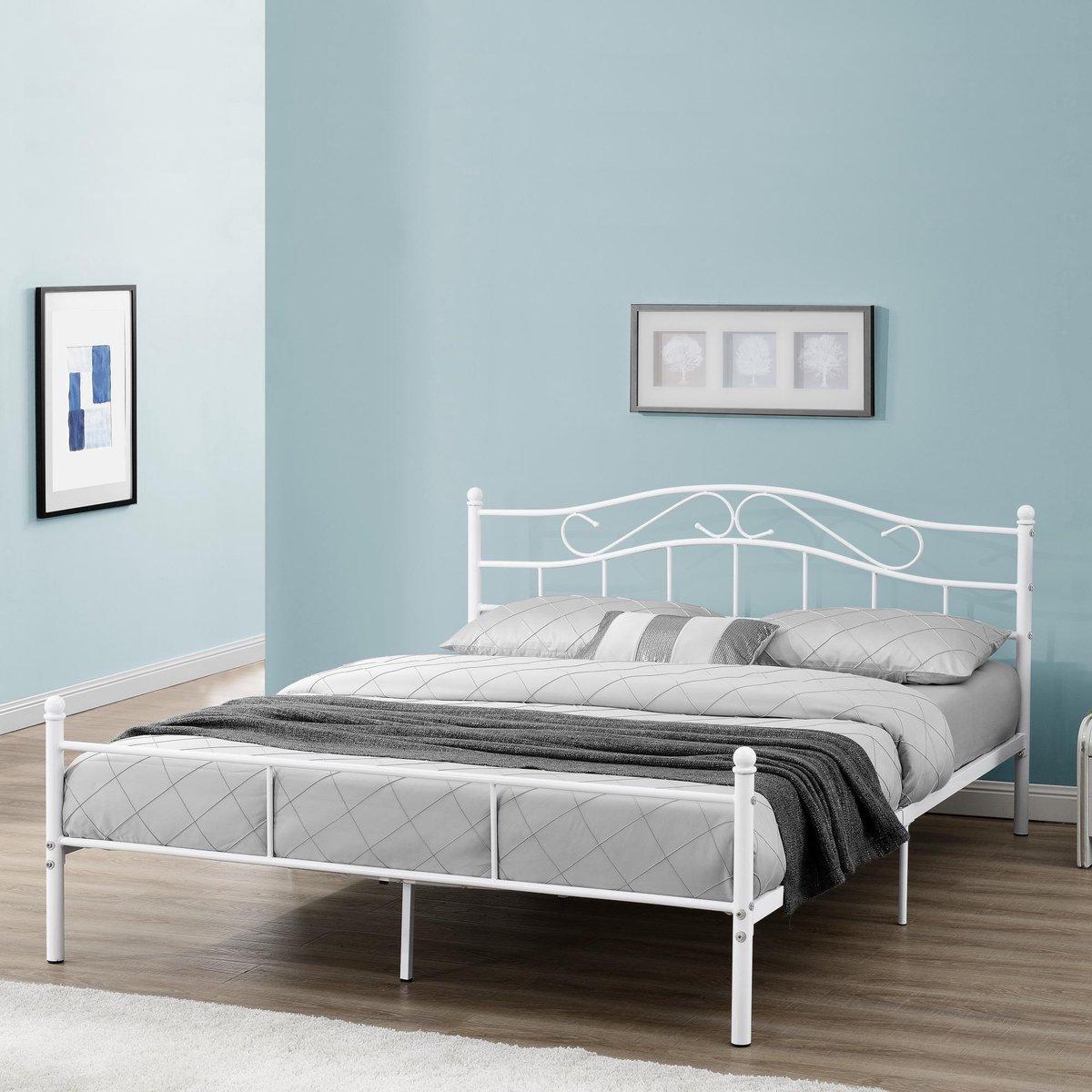Metalen bed twijfelaar Florenz incl. bedbodem 140x200 wit - en.casa