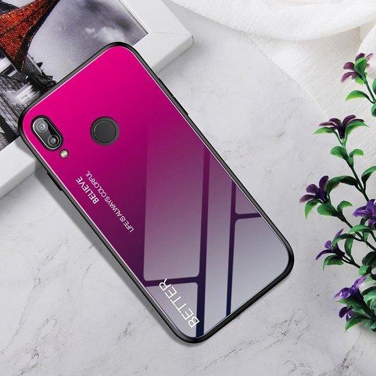 Schokbestendig gehard glas + TPU Case voor Huawei P20 Lite (Rose Red)