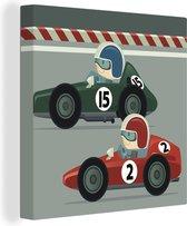 Een illustratie van een fictieve Formule 1 wedstrijd canvas 80x60 cm - Foto print op Canvas schilderij (Wanddecoratie woonkamer / slaapkamer)