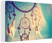 Close-up van een dromenvanger canvas 60x40 cm - Foto print op Canvas schilderij (Wanddecoratie woonkamer / slaapkamer)