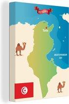 Een illustratie van een kaart van Tunesië met kamelen 60x80 cm - Foto print op Canvas schilderij (Wanddecoratie woonkamer / slaapkamer)