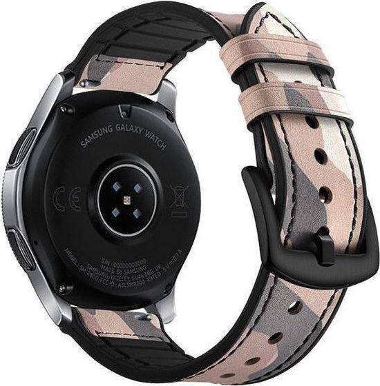 Camouflage bandje zand leer/siliconen geschikt voor Samsung Galaxy Watch 46mm