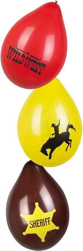 12x Wilde Westen thema ballonnen - Western/Cowboy feestartikelen en versieringen