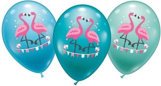 12x stuks Flamingo thema ballonnen 28 cm - Feestartikelen/versiering