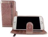 HEM Apple iPhone SE 2020 - Magic Glitter Rose Gold - Leren Rits Portemonnee Telefoonhoesje  SE 2020, dus geschikt voor de nieuwe iPhone SE 2020