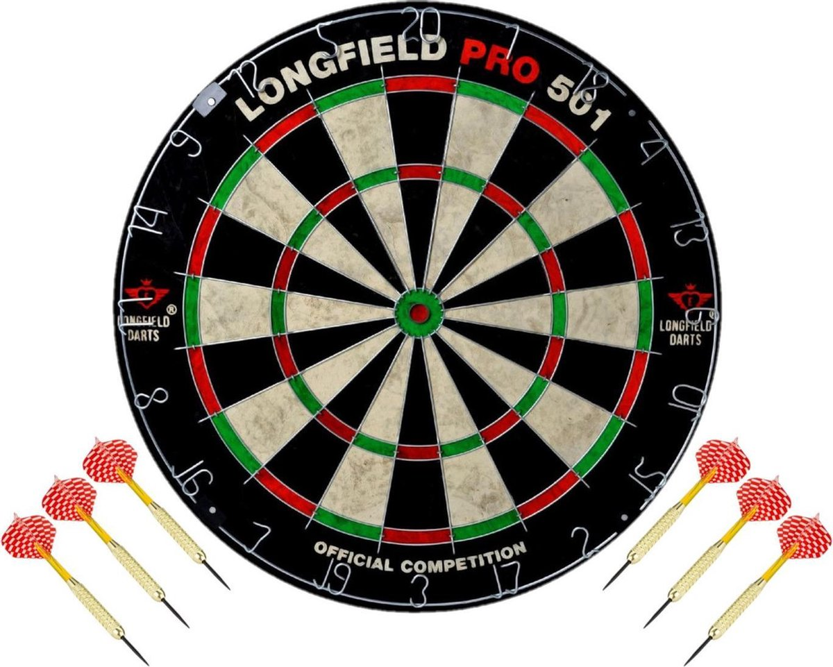 Dartbord set compleet van diameter 45.5 cm met 6x dartpijlen van 22 gram - Longfield professional - Darten