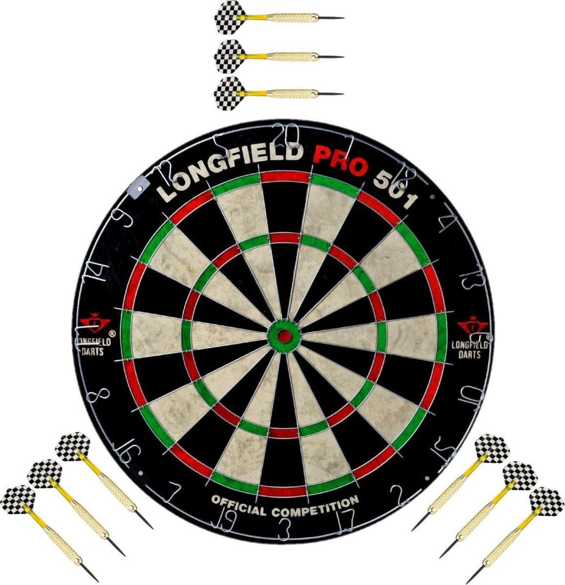 Dartbord set compleet van diameter 45.5 cm met 9x dartpijlen van 21 gram - Longfield professional - Darten