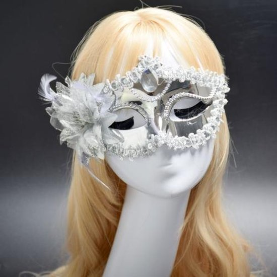 Halloween Masquerade Party Dance Plating Side Flower Feather Venice Princess Mask (Silver)