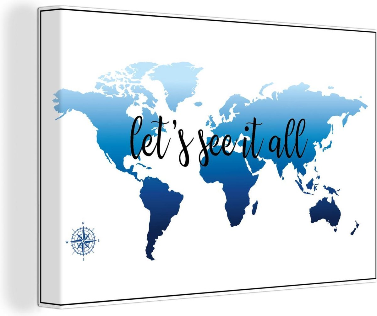 Canvas Schilderijen - Wereldkaart - Blauw - Kompas - 120x80 cm - Wanddecoratie