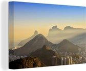 Gavea Rock bij zonsondergang Canvas 180x120 cm - Foto print op Canvas schilderij (Wanddecoratie woonkamer / slaapkamer) XXL / Groot formaat!