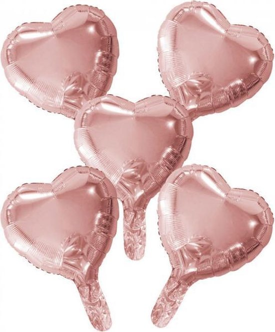 Wefiesta Folieballonnen Hartvorm 22 Cm Roségoud 5 Stuks
