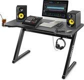 DJ tafel - Vonyx DB15 DJ booth / studio meubel met koptelefoon haak, 2x kabeldoorvoer en bekerhouder - 120cm breed - Zwart