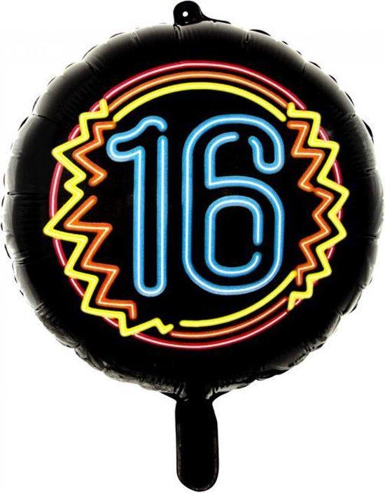 Wefiesta Folieballon 16 Neon 45 Cm Zwart