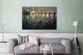 Watervogels in de Moldau in de nacht met uitzicht op de Karelsbrug in Praag Canvas 180x120 cm - Foto print op Canvas schilderij (Wanddecoratie woonkamer / slaapkamer) XXL / Groot formaat!