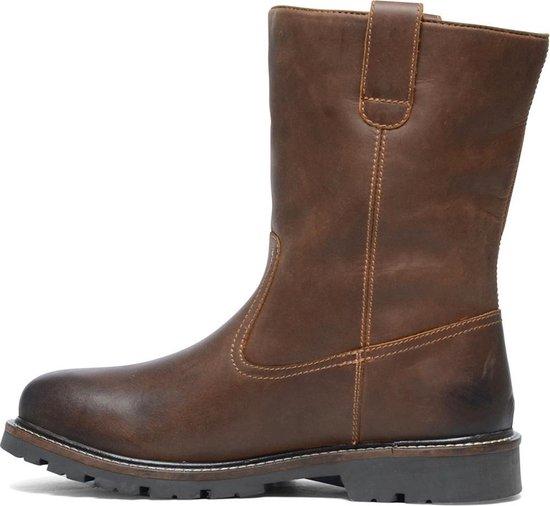 Manfield Heren leren boots met imitatiebont Cognac Maat 42