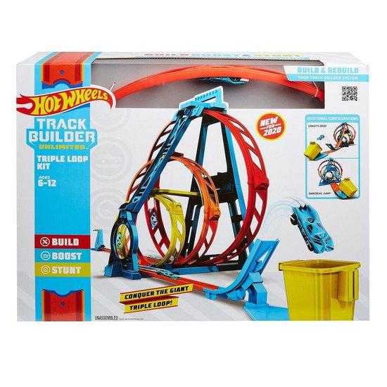 Afbeelding van Hot Wheels Track Builder Driedubbele loopingset - Racebaan speelgoed