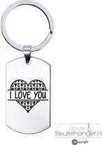 Sleutelhanger RVS - I Love You - Valentijn / Liefde Kado