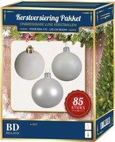 Kerstbal en ster piek set 85x wit - voor 180 cm boom - Kerstboomversiering wit