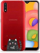 Telefoonhoesje met Naam Samsung Galaxy A01 Cat Good Day