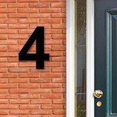 Huisnummer Acryl zwart, cijfer 4, Hoogte 16cm | Huisnummer plexiglas | Huisnummer modern | Huisnummer kopen | Topkwaliteit | Gratis verzending!