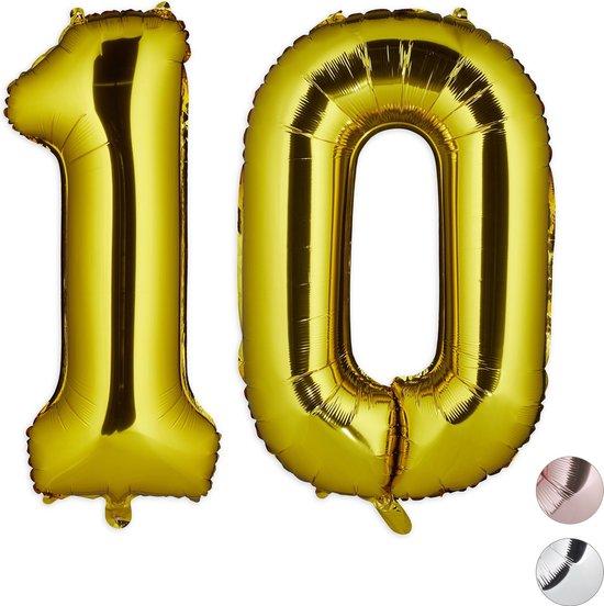 relaxdays folie ballon cijfer 10 - cijfer ballon groot - folieballon - verjaardagsballon