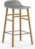 Normann Copenhagen Form Barstool - Barkruk - 65cm - Grijs met eiken onderstel
