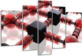Glasschilderij Modern   Rood, Zwart, Wit   170x100cm 5Luik   Foto print op Glas    F004317