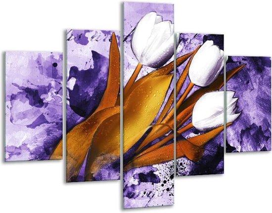 Glasschilderij Tulpen | Paars, Bruin, Wit | 100x70cm 5Luik | Foto print op Glas |  F003257