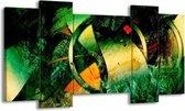 Canvas schilderij Abstract   Groen, Geel, Rood   120x65 5Luik