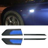 2 STKS Koolstofvezel Auto-Styling Fender Reflecterende Bumper Decoratieve Strip, Innerlijke Reflectie + Externe Koolstofvezel (Blauw)