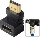 HDMI 19Pin Mannelijk naar HDMI 19Pin Vrouwelijk 90 graden hoekadapter (goudkleurig) (zwart)