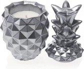 Zilver gelakte Candellana betonkaars, Ananas Hoogte 16 cm (40 uur)