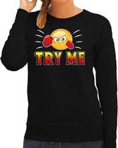 Funny emoticon sweater Try me zwart voor dames - Fun / cadeau trui 2XL